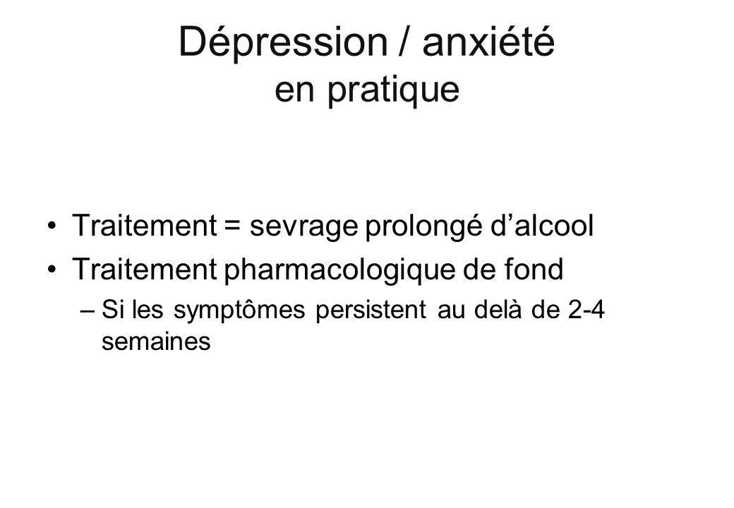 Dépression / anxiété en pratique Traitement = sevrage prolongé dalcool Traitement pharmacologique de fond –Si les symptômes persistent au delà de 2-4