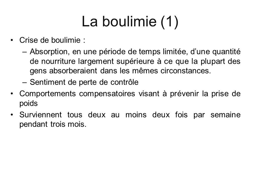 La boulimie (1) Crise de boulimie : –Absorption, en une période de temps limitée, dune quantité de nourriture largement supérieure à ce que la plupart