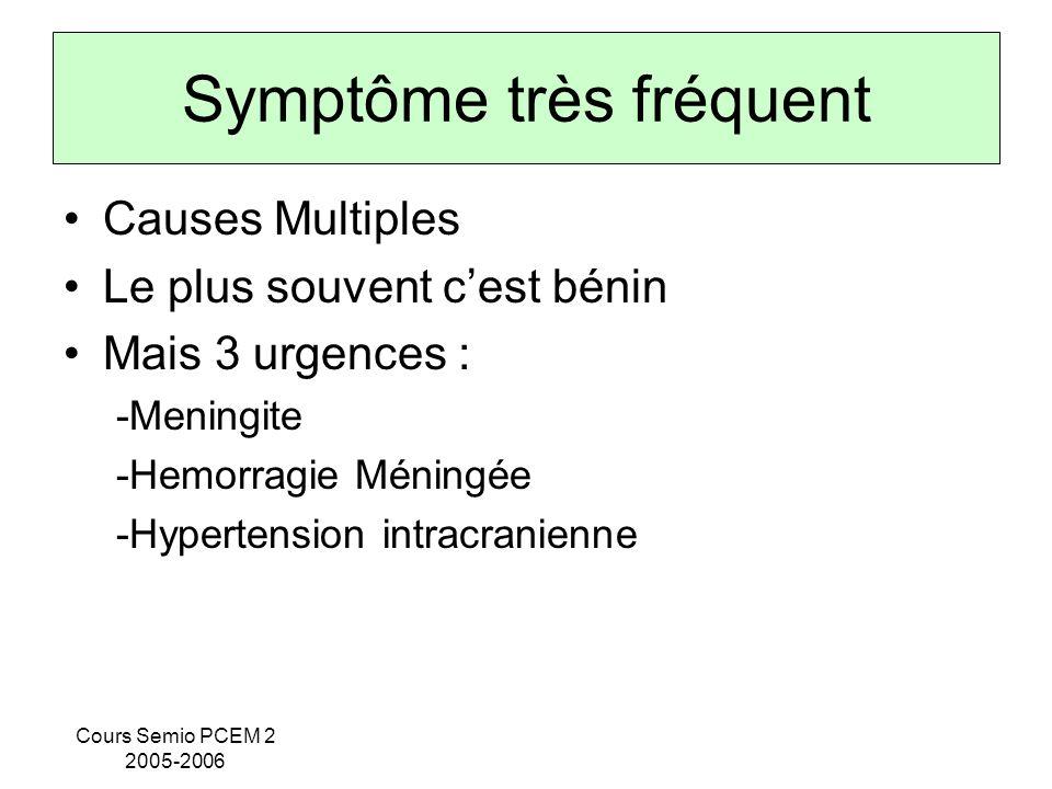 Cours Semio PCEM 2 2005-2006 Symptôme très fréquent Causes Multiples Le plus souvent cest bénin Mais 3 urgences : -Meningite -Hemorragie Méningée -Hyp