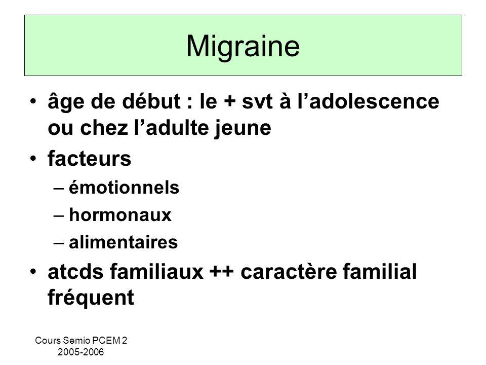 Cours Semio PCEM 2 2005-2006 Migraine âge de début : le + svt à ladolescence ou chez ladulte jeune facteurs –émotionnels –hormonaux –alimentaires atcd
