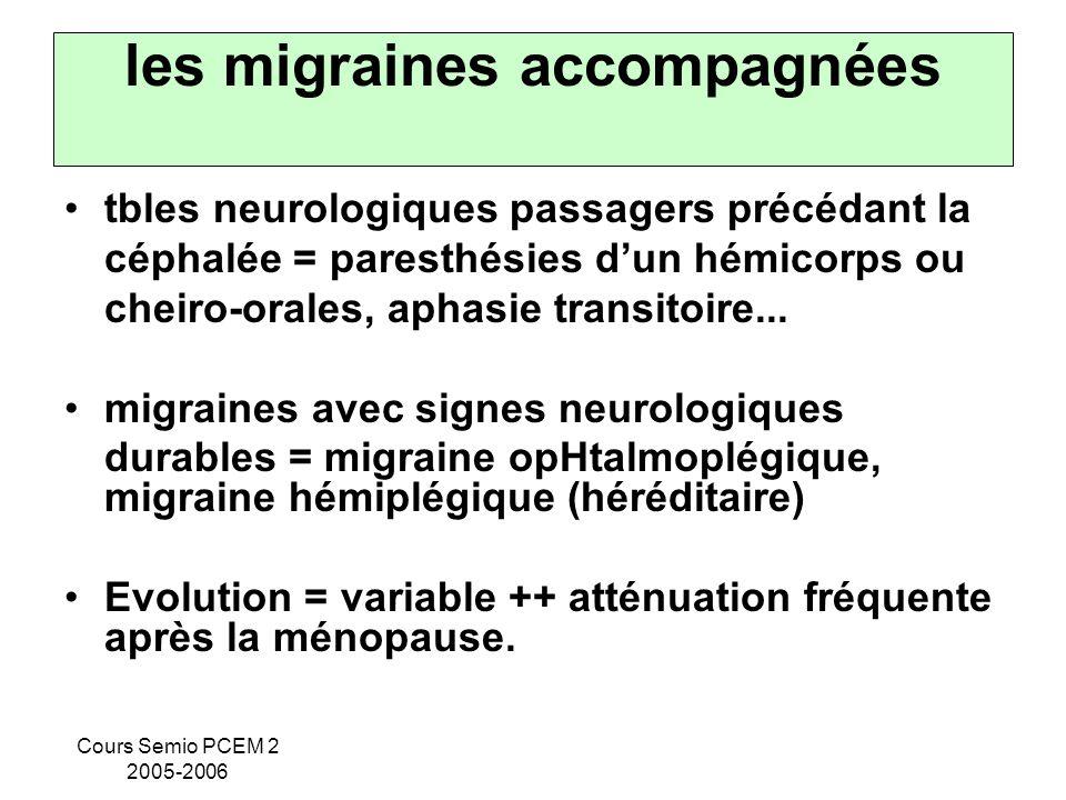 Cours Semio PCEM 2 2005-2006 les migraines accompagnées tbles neurologiques passagers précédant la céphalée = paresthésies dun hémicorps ou cheiro-ora