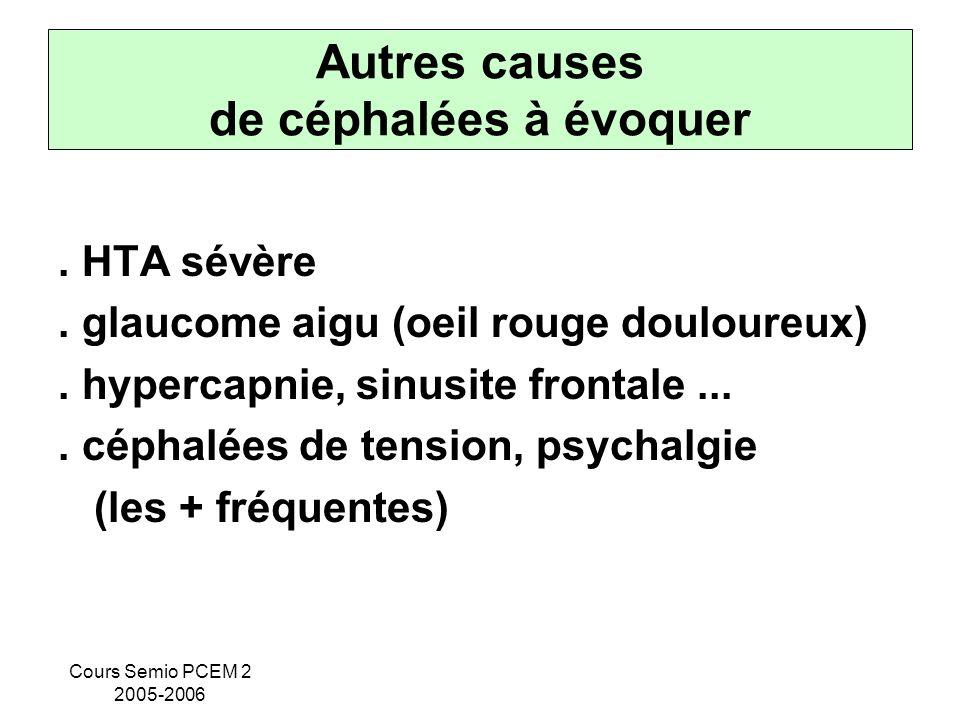 Cours Semio PCEM 2 2005-2006 Autres causes de céphalées à évoquer. HTA sévère. glaucome aigu (oeil rouge douloureux). hypercapnie, sinusite frontale..