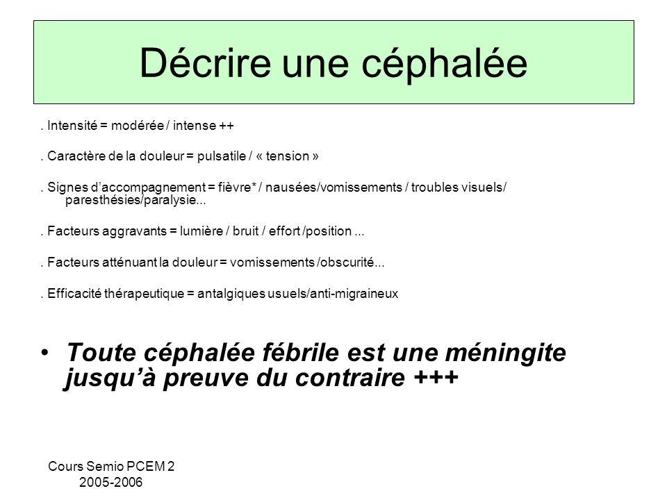 Cours Semio PCEM 2 2005-2006 Décrire une céphalée. Intensité = modérée / intense ++. Caractère de la douleur = pulsatile / « tension ». Signes daccomp