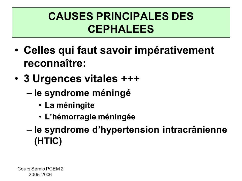 Cours Semio PCEM 2 2005-2006 CAUSES PRINCIPALES DES CEPHALEES Celles qui faut savoir impérativement reconnaître: 3 Urgences vitales +++ –le syndrome m