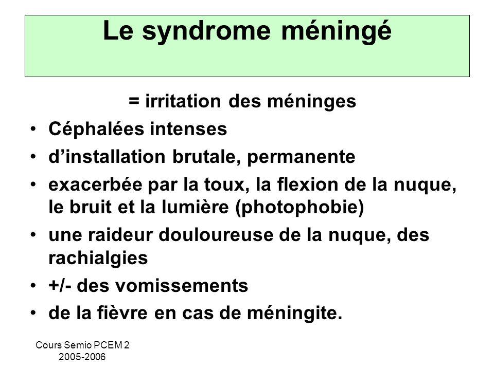 Cours Semio PCEM 2 2005-2006 Le syndrome méningé = irritation des méninges Céphalées intenses dinstallation brutale, permanente exacerbée par la toux,