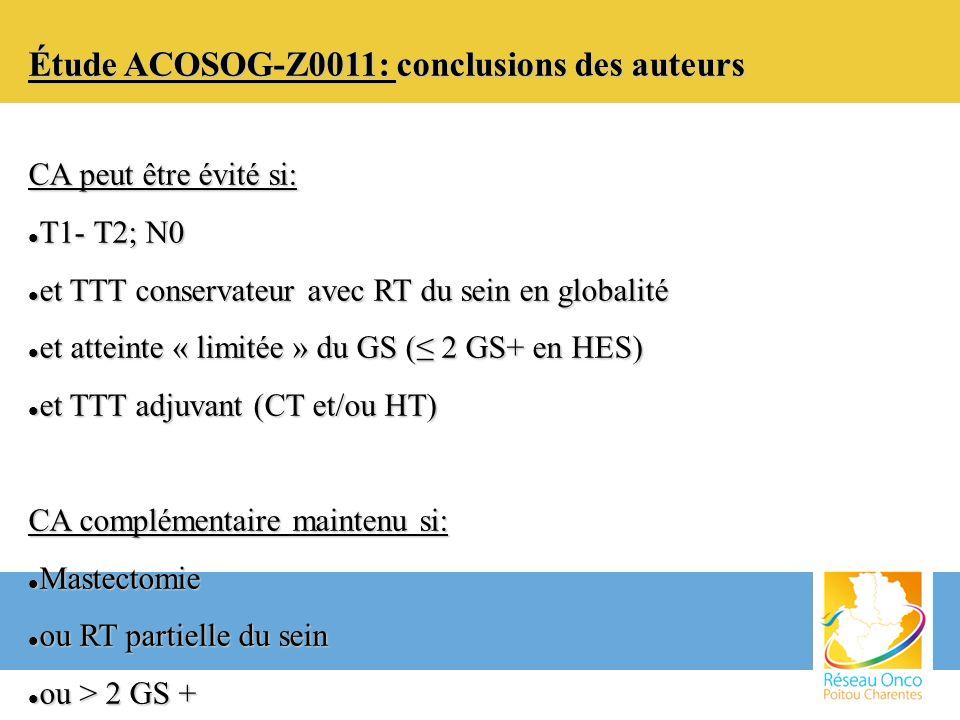 Étude ACOSOG-Z0011: conclusions des auteurs CA peut être évité si: T1- T2; N0 T1- T2; N0 et TTT conservateur avec RT du sein en globalité et TTT conse