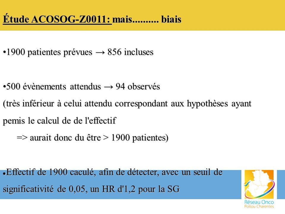 Étude ACOSOG-Z0011: mais.......... biais 1900 patientes prévues 856 incluses1900 patientes prévues 856 incluses 500 évènements attendus 94 observés500