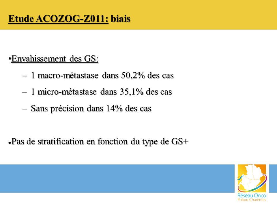 Etude ACOZOG-Z011: biais Envahissement des GS:Envahissement des GS: –1 macro-métastase dans 50,2% des cas –1 micro-métastase dans 35,1% des cas –Sans