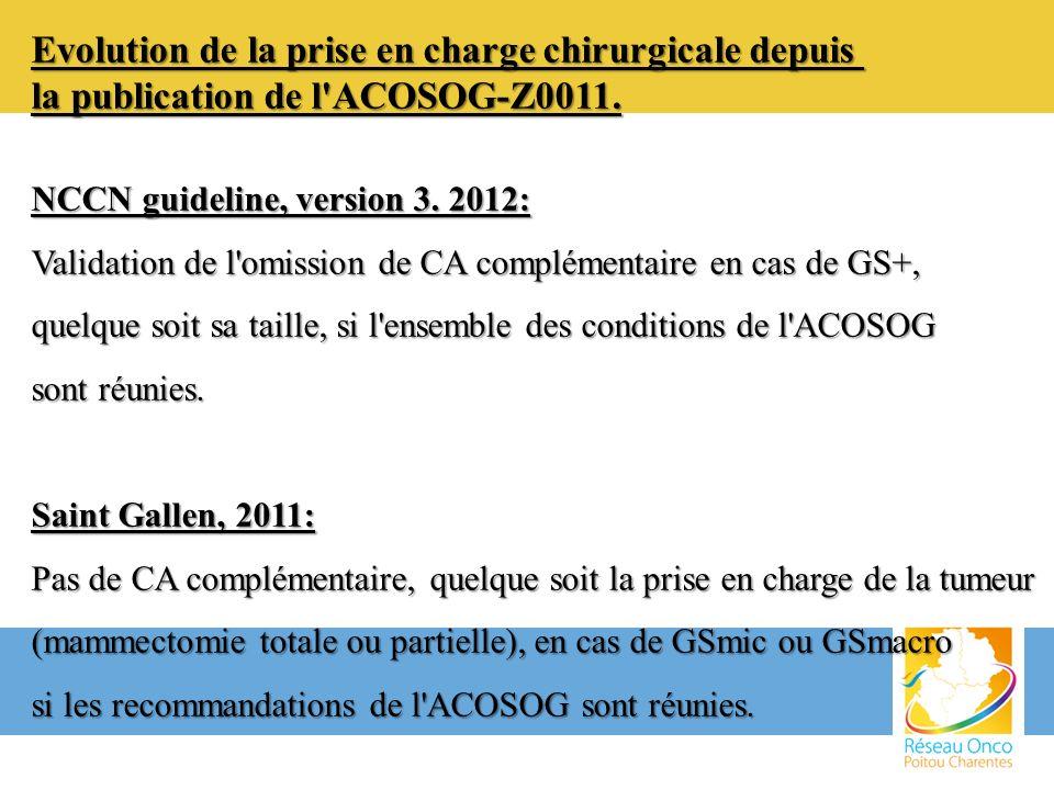 Evolution de la prise en charge chirurgicale depuis la publication de l'ACOSOG-Z0011. NCCN guideline, version 3. 2012: Validation de l'omission de CA