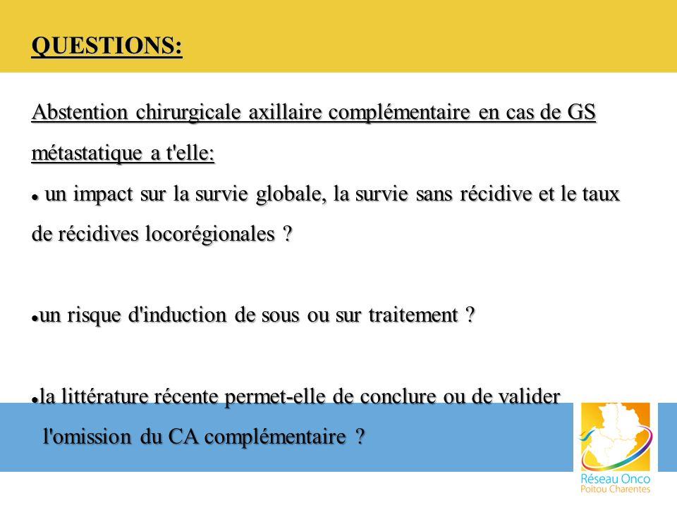 QUESTIONS: Abstention chirurgicale axillaire complémentaire en cas de GS métastatique a t'elle: un impact sur la survie globale, la survie sans récidi