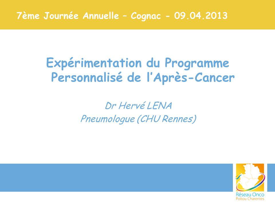 7ème Journée Annuelle – Cognac - 09.04.2013 Expérimentation du Programme Personnalisé de lAprès-Cancer Dr Hervé LENA Pneumologue (CHU Rennes)