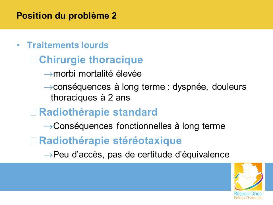 Position du problème 2 Traitements lourds –Chirurgie thoracique morbi mortalité élevée conséquences à long terme : dyspnée, douleurs thoraciques à 2 a