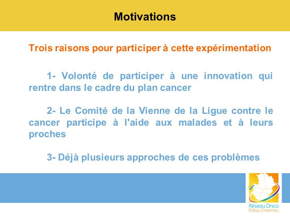 Motivations Trois raisons pour participer à cette expérimentation 1- Volonté de participer à une innovation qui rentre dans le cadre du plan cancer 2-