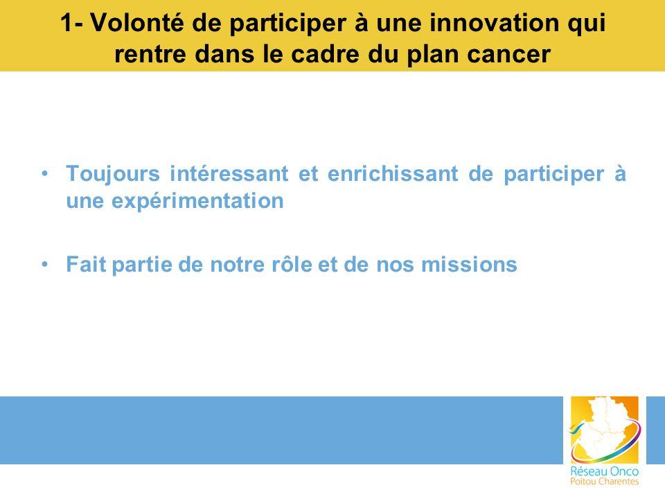 1- Volonté de participer à une innovation qui rentre dans le cadre du plan cancer Toujours intéressant et enrichissant de participer à une expérimenta