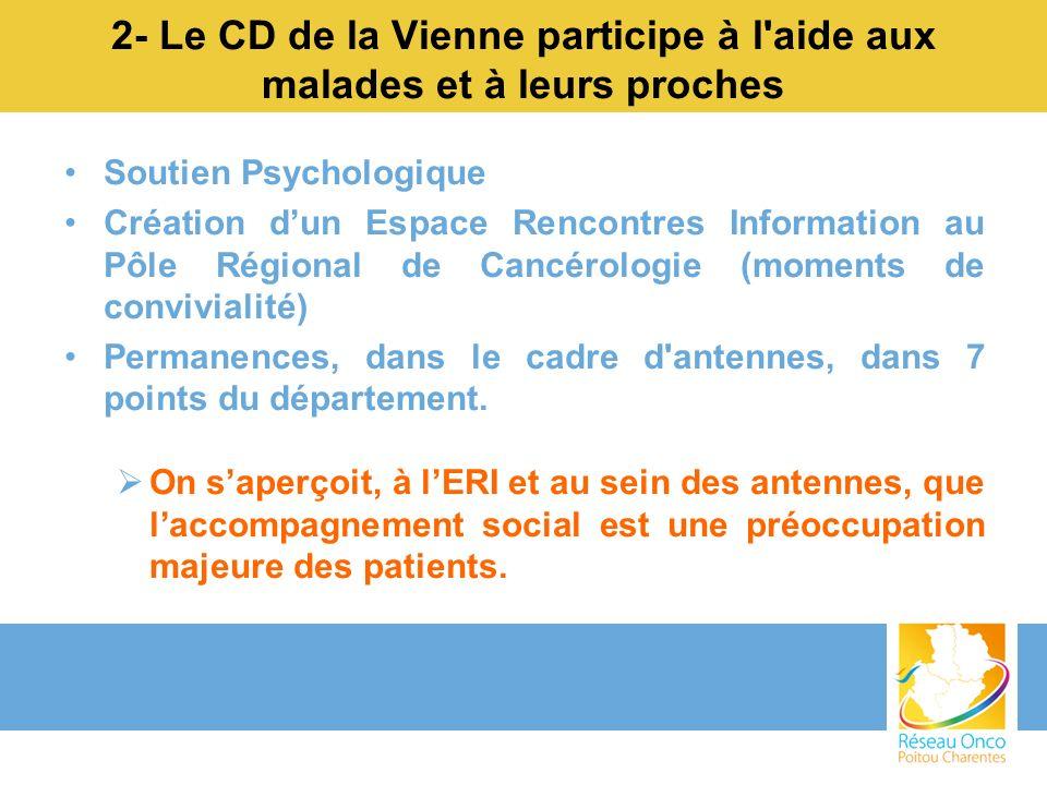 2- Le CD de la Vienne participe à l'aide aux malades et à leurs proches Soutien Psychologique Création dun Espace Rencontres Information au Pôle Régio
