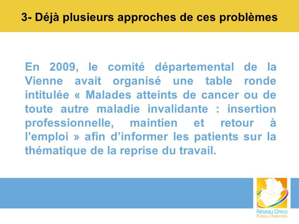 3- Déjà plusieurs approches de ces problèmes En 2009, le comité départemental de la Vienne avait organisé une table ronde intitulée « Malades atteints