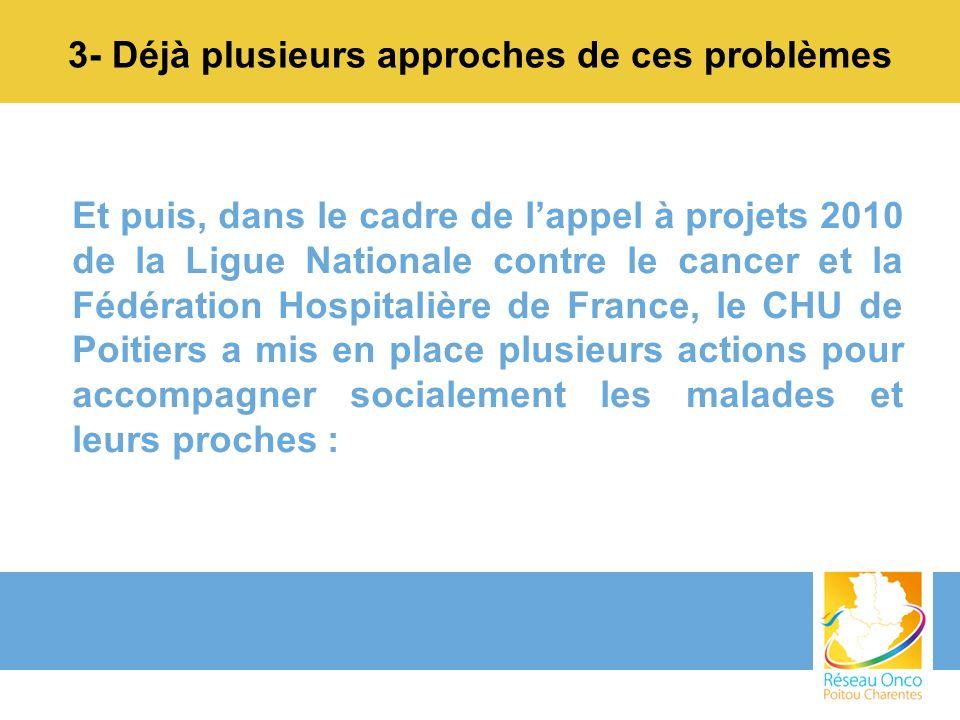 3- Déjà plusieurs approches de ces problèmes Et puis, dans le cadre de lappel à projets 2010 de la Ligue Nationale contre le cancer et la Fédération H