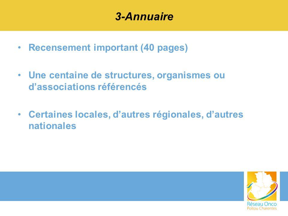 3-Annuaire Recensement important (40 pages) Une centaine de structures, organismes ou dassociations référencés Certaines locales, dautres régionales,