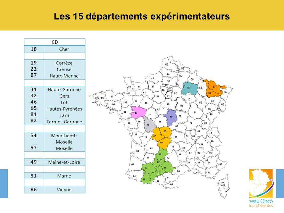 Les 15 départements expérimentateurs