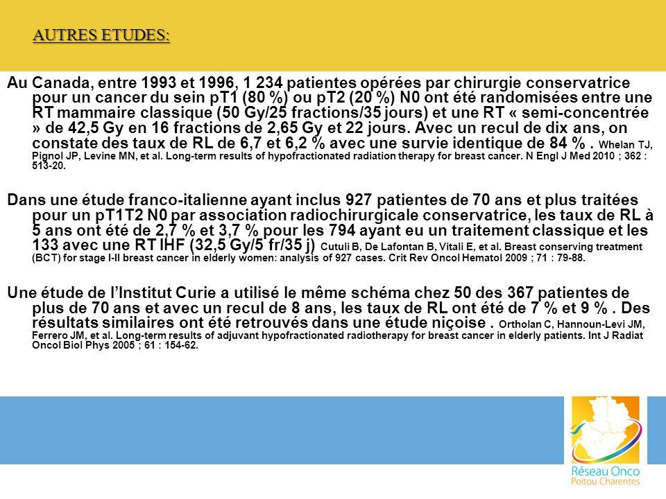 Au Canada, entre 1993 et 1996, 1 234 patientes opérées par chirurgie conservatrice pour un cancer du sein pT1 (80 %) ou pT2 (20 %) N0 ont été randomis