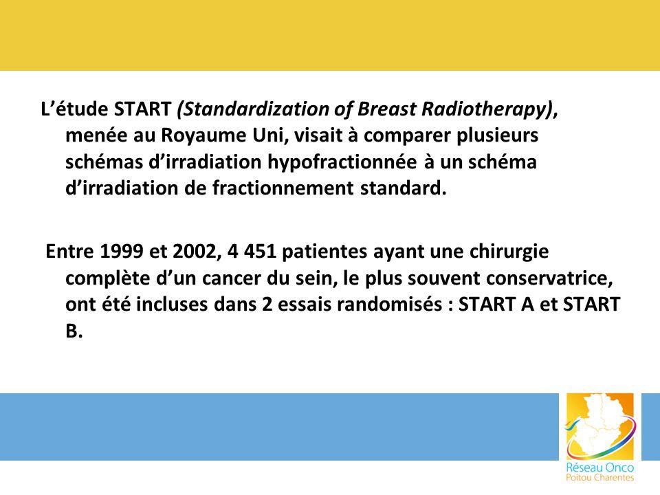 Létude START (Standardization of Breast Radiotherapy), menée au Royaume Uni, visait à comparer plusieurs schémas dirradiation hypofractionnée à un sch