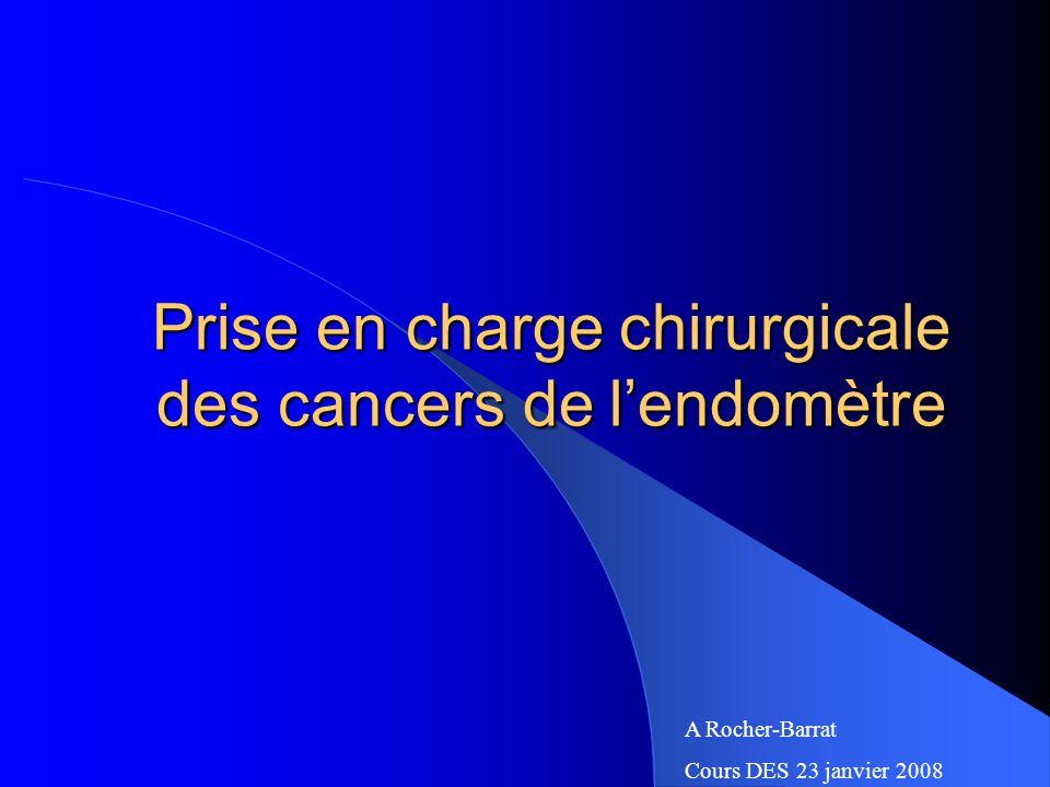 Prise en charge chirurgicale des cancers de lendomètre A Rocher-Barrat Cours DES 23 janvier 2008