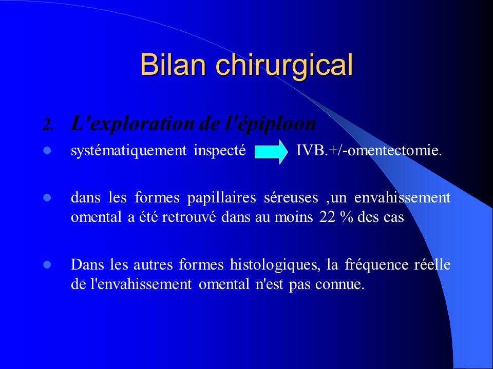 Bilan chirurgical 2. L'exploration de l'épiploon systématiquement inspecté IVB.+/-omentectomie. dans les formes papillaires séreuses,un envahissement