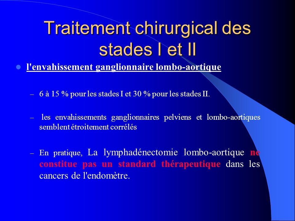 Traitement chirurgical des stades I et II l'envahissement ganglionnaire lombo-aortique – 6 à 15 % pour les stades I et 30 % pour les stades II. – les