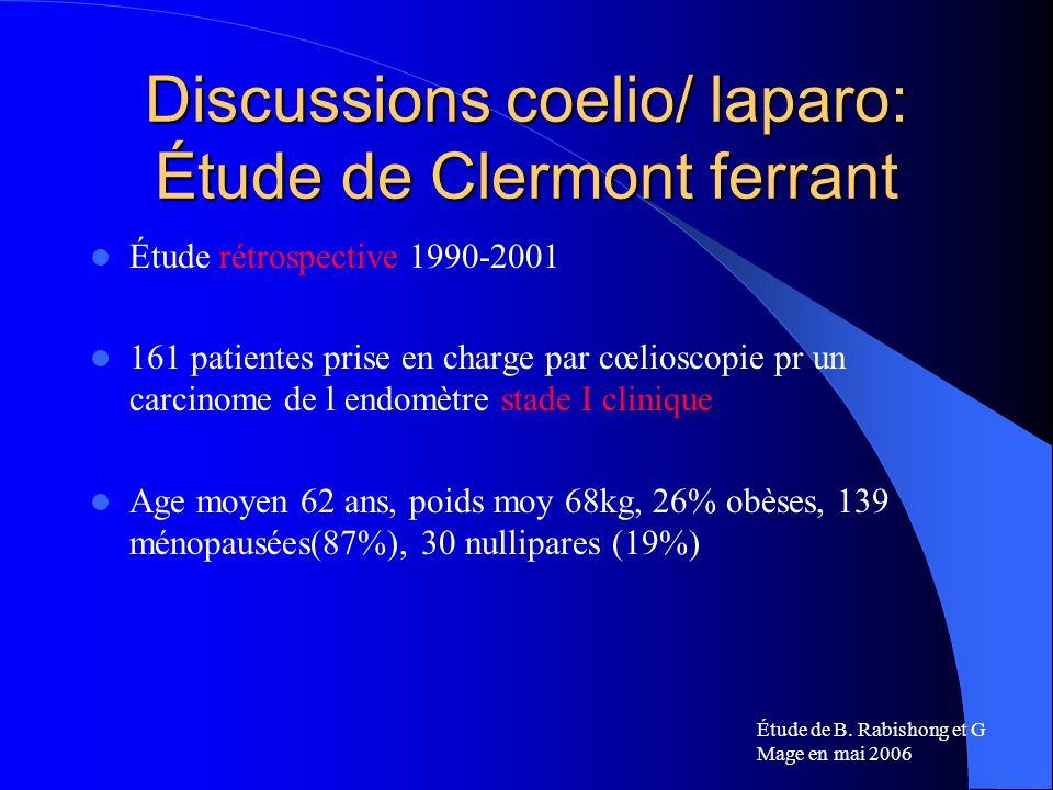 Discussions coelio/ laparo: Étude de Clermont ferrant Étude rétrospective 1990-2001 161 patientes prise en charge par cœlioscopie pr un carcinome de l