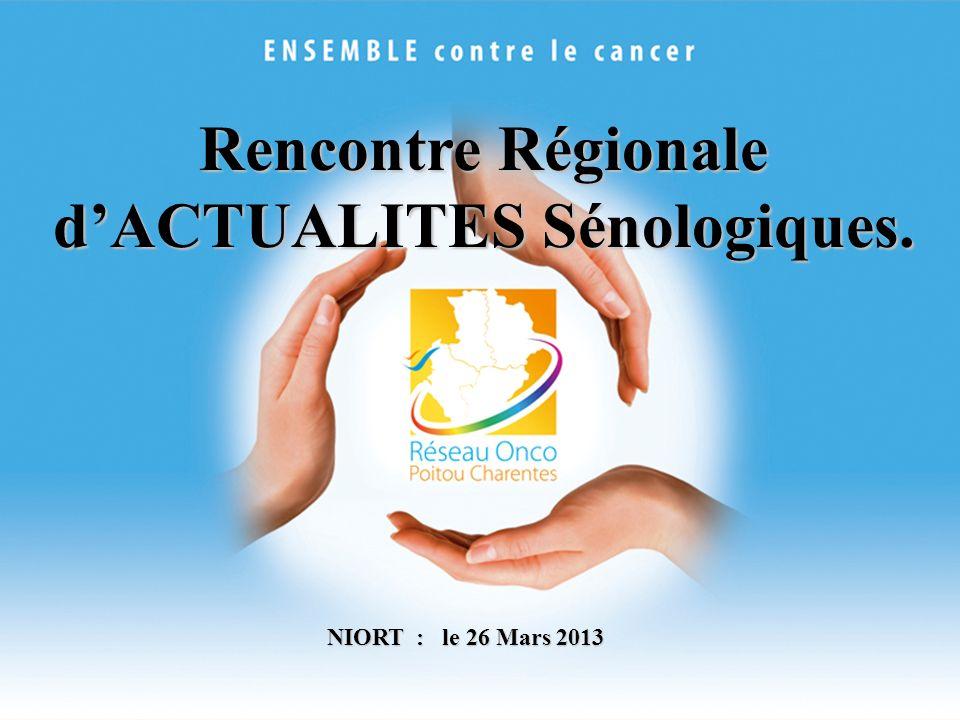 MODERATEURS : Claire JAMET (La Rochelle) Antoine BERGER (Poitiers) ACTUALITES Sénologiques: Niort le 26 mars 2013 Rencontre Régionale dACTUALITES Sénologiques.