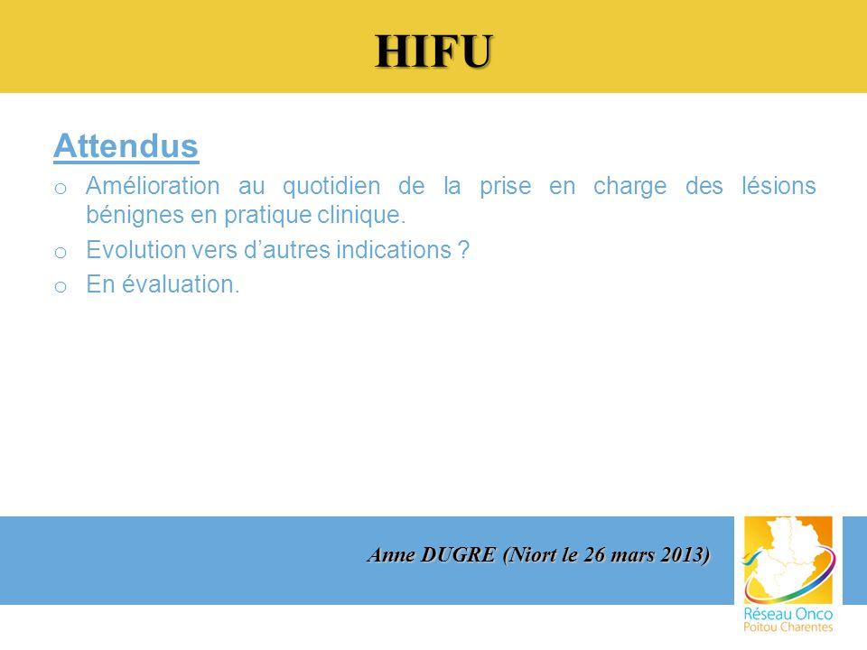 HIFU Attendus o Amélioration au quotidien de la prise en charge des lésions bénignes en pratique clinique.