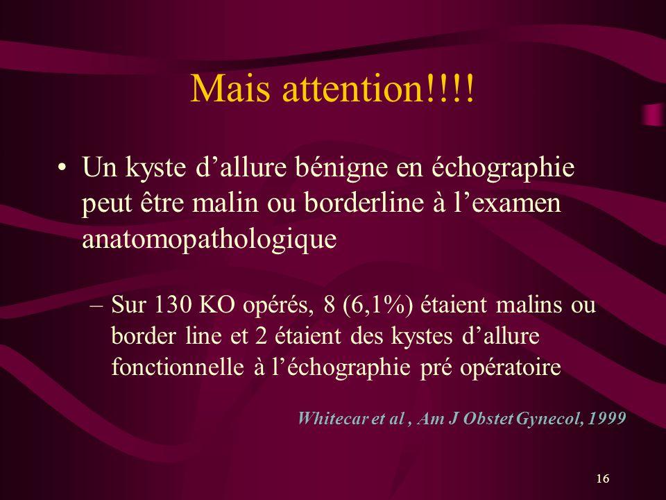 16 Mais attention!!!! Un kyste dallure bénigne en échographie peut être malin ou borderline à lexamen anatomopathologique –Sur 130 KO opérés, 8 (6,1%)