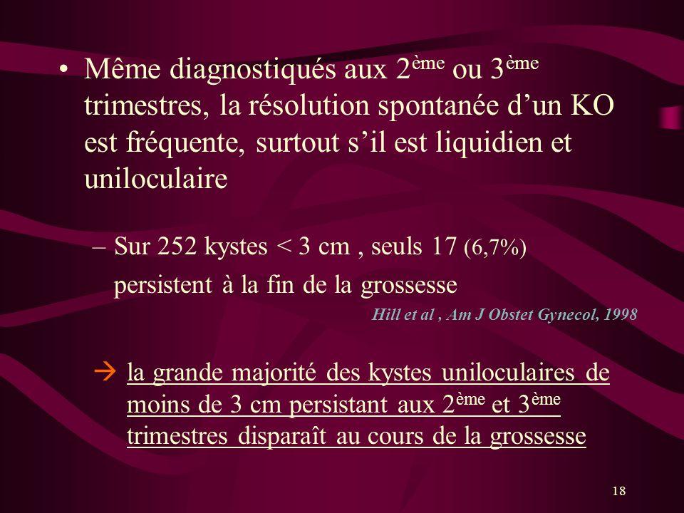 18 Même diagnostiqués aux 2 ème ou 3 ème trimestres, la résolution spontanée dun KO est fréquente, surtout sil est liquidien et uniloculaire –Sur 252
