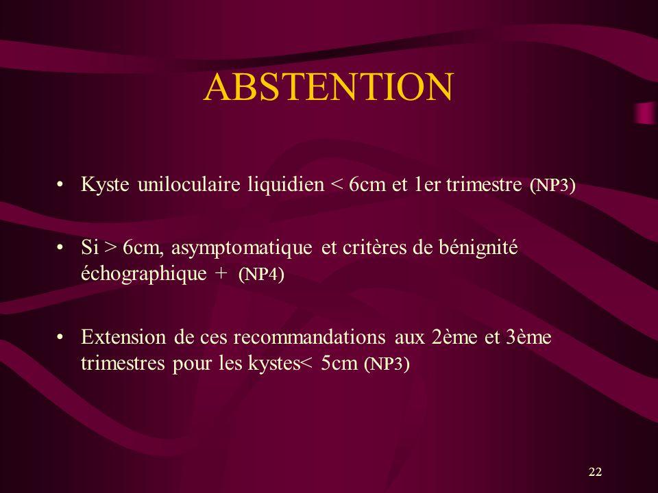 22 ABSTENTION Kyste uniloculaire liquidien < 6cm et 1er trimestre (NP3) Si > 6cm, asymptomatique et critères de bénignité échographique + (NP4) Extens
