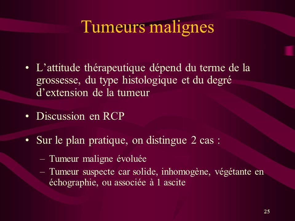 25 Tumeurs malignes Lattitude thérapeutique dépend du terme de la grossesse, du type histologique et du degré dextension de la tumeur Discussion en RC