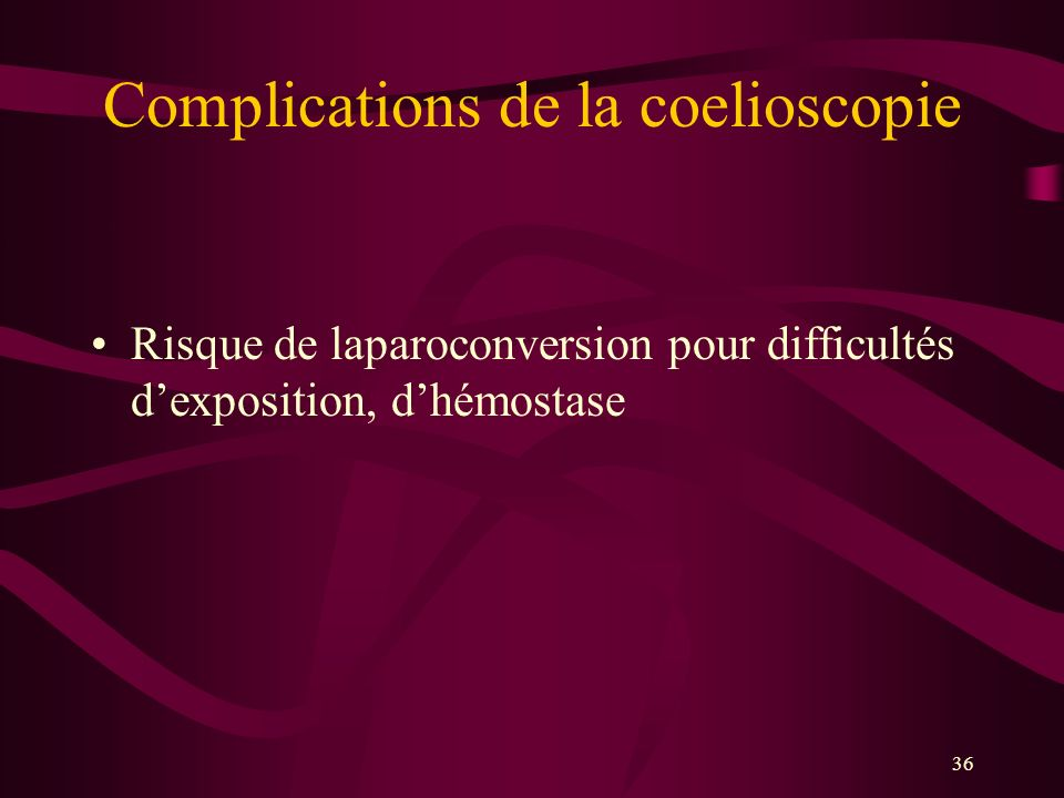 36 Complications de la coelioscopie Risque de laparoconversion pour difficultés dexposition, dhémostase