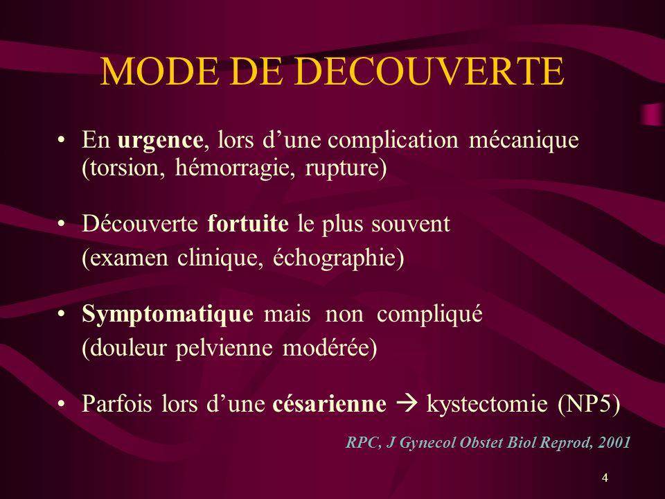 4 MODE DE DECOUVERTE En urgence, lors dune complication mécanique (torsion, hémorragie, rupture) Découverte fortuite le plus souvent (examen clinique,