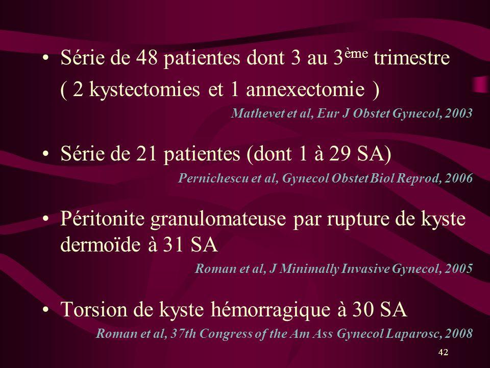 42 Série de 48 patientes dont 3 au 3 ème trimestre ( 2 kystectomies et 1 annexectomie ) Mathevet et al, Eur J Obstet Gynecol, 2003 Série de 21 patient