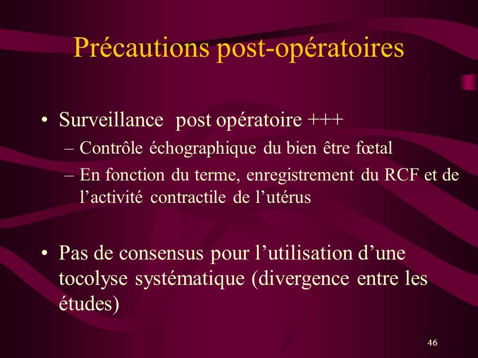 46 Précautions post-opératoires Surveillance post opératoire +++ –Contrôle échographique du bien être fœtal –En fonction du terme, enregistrement du R