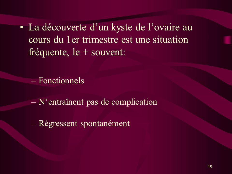 49 La découverte dun kyste de lovaire au cours du 1er trimestre est une situation fréquente, le + souvent: –Fonctionnels –Nentraînent pas de complicat