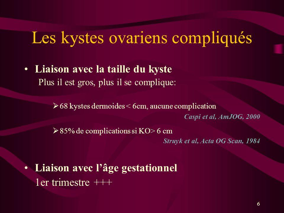 6 Les kystes ovariens compliqués Liaison avec la taille du kyste Plus il est gros, plus il se complique: 68 kystes dermoides < 6cm, aucune complicatio