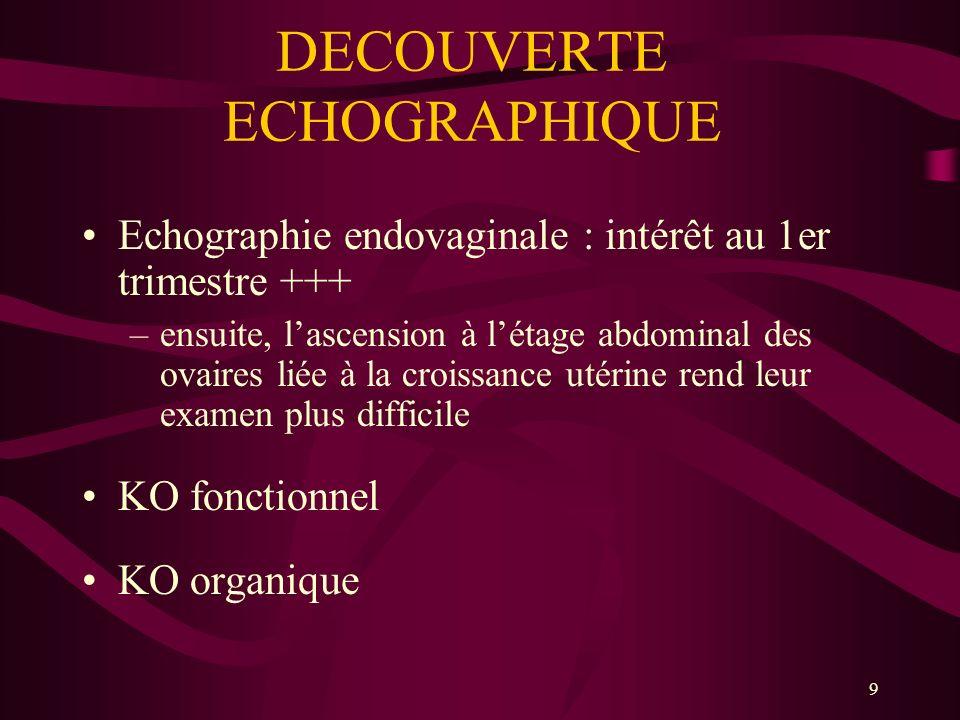 9 DECOUVERTE ECHOGRAPHIQUE Echographie endovaginale : intérêt au 1er trimestre +++ –ensuite, lascension à létage abdominal des ovaires liée à la crois