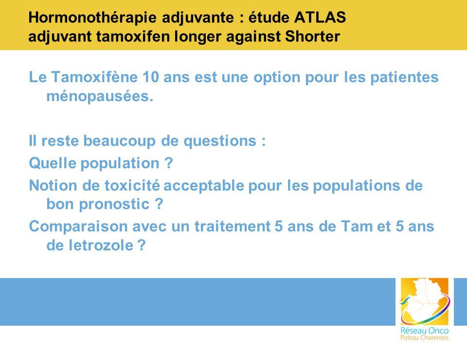 Hormonothérapie adjuvante : étude ATLAS adjuvant tamoxifen longer against Shorter Le Tamoxifène 10 ans est une option pour les patientes ménopausées.