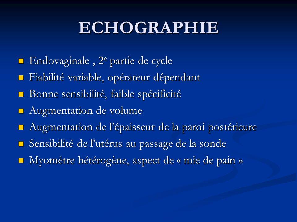 ECHOGRAPHIE Endovaginale, 2 e partie de cycle Endovaginale, 2 e partie de cycle Fiabilité variable, opérateur dépendant Fiabilité variable, opérateur