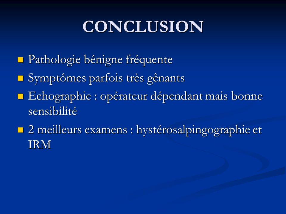 CONCLUSION Pathologie bénigne fréquente Pathologie bénigne fréquente Symptômes parfois très gênants Symptômes parfois très gênants Echographie : opéra