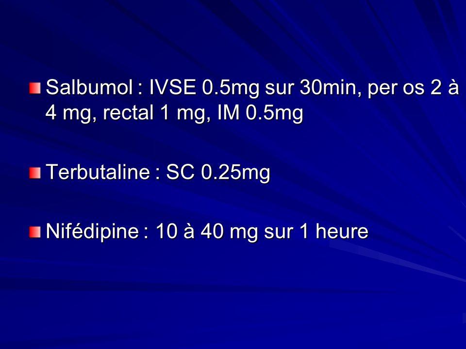 Salbumol : IVSE 0.5mg sur 30min, per os 2 à 4 mg, rectal 1 mg, IM 0.5mg Terbutaline : SC 0.25mg Nifédipine : 10 à 40 mg sur 1 heure