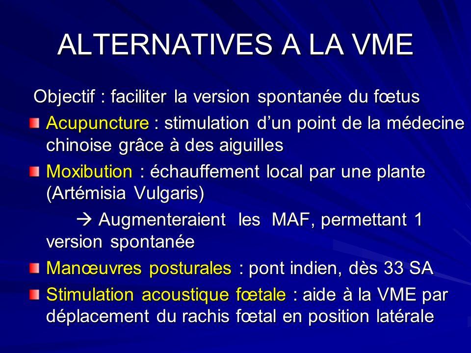 ALTERNATIVES A LA VME Objectif : faciliter la version spontanée du fœtus Objectif : faciliter la version spontanée du fœtus Acupuncture : stimulation