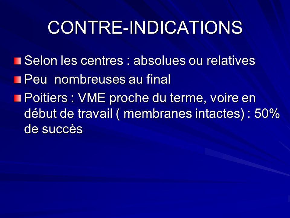 CONTRE-INDICATIONS Selon les centres : absolues ou relatives Peu nombreuses au final Poitiers : VME proche du terme, voire en début de travail ( membr