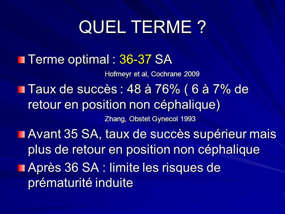 QUEL TERME ? Terme optimal : 36-37 SA Hofmeyr et al, Cochrane 2009 Hofmeyr et al, Cochrane 2009 Taux de succès : 48 à 76% ( 6 à 7% de retour en positi