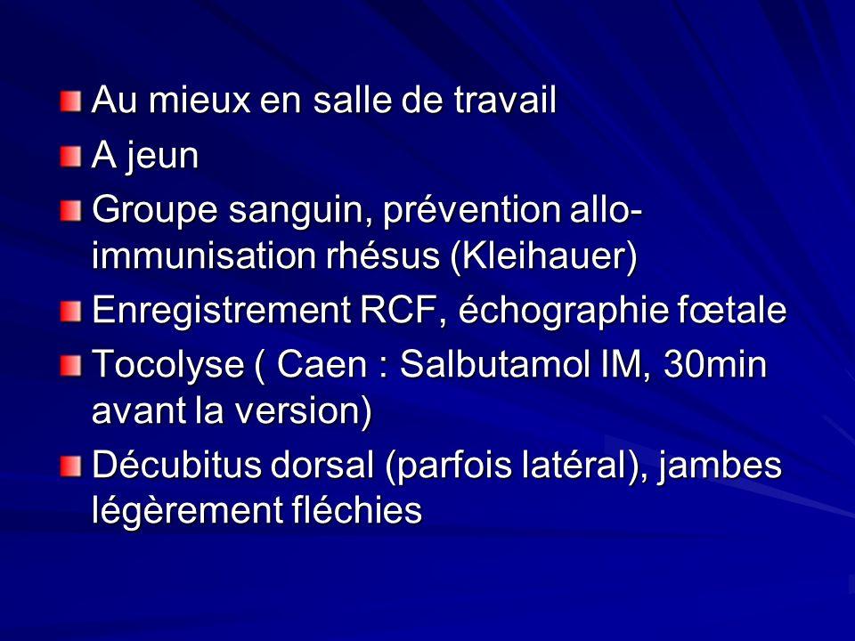 Au mieux en salle de travail A jeun Groupe sanguin, prévention allo- immunisation rhésus (Kleihauer) Enregistrement RCF, échographie fœtale Tocolyse (